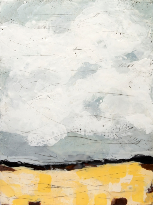 """1000 Miles From Nowhere // Encaustic (Beeswax and Resin) and Pigment Stick on Wood Panel- 18x24"""""""