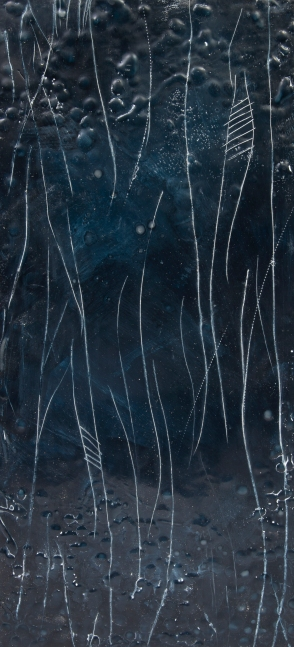 """Midnight Crossroads // Encaustic (Beeswax and Resin) and Pigment Stick on Wood Panel - 10x22"""""""